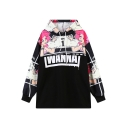 Casual Letter Print Long Sleeve Hooded Pullover