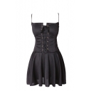 Plain Strappy Front Skinny Ruffle Bustier Dress