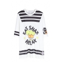 Cartoon Letter Print Round Neck Long Sleeve Dress