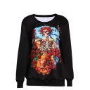 Skull with Rose Print Round Neck Long Sleeve Sweatshirt