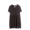 Plain Round Neck Short Sleeve Lace Dress