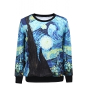 Starry Night Print Round Neck Long Sleeve Sweatshirt