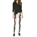 Tie-dye Pattern Skinny Jeans in Zipper Fly