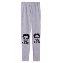 KKXX Skull Print Elastic Waist Full Long Cotton Pants