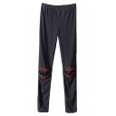 Elastic Waist Fitted Leggings with Mouth Pattern