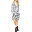 High-low V-neck Belted Shirtdress with Floral Pattern