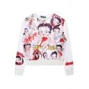 White Long Sleeve Betty Print Loose Sweatshirt