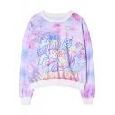 Unicorn Print Long Sleeve Round Neck Loose Sweatshirt