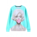 Marilyn Monroe Print Round Neck Long Sleeve Sweatshirt