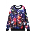 Digital Print Long Sleeve Round Neck Crop Sweatshirt