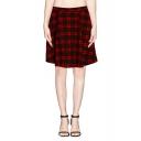 Plaid Print Elastic High Waist Wool Midi Skirt