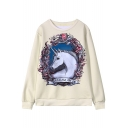 Unicorn Pattern Print Round Neck Long Sleeve Sweatshirt