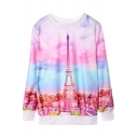 Tower Print Color Block Round Neck Long Sleeve Swaeatshirt