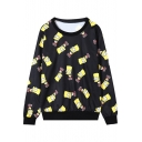 Black Simpson Print Long Sleeve Round Neck Loose Sweatshirt