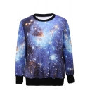Shining Sky Print Round Neck Long Sleeve Sweatshirt