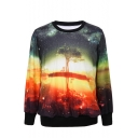 Tree and Sky Print Round Neck Long Sleeve Sweatshirt