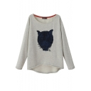 Blue Tiger Head Embroidered Long Sleeve T-Shirt