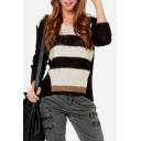 Laid Back Fitted Stripe Sweater with V-Neck