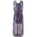 Camouflage Print V-Neck Sleeveless Chiffon Dress