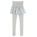 Plain Fitted Ruffle Insert Elastic Waist Culottes