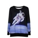 Astronaut Pattern Round Neck Long Sleeve Sweatshirt