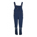 Plain Pockets Loose Mid Rise Denim Dungarees