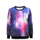 Forest Print Round Neck Long Sleeve Sweatshirt