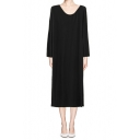 Simple Plain Cotton Long Sleeve Column Dress with Round Neck
