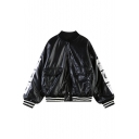 Black Letter Print PU Baseball Jacket with Double Pockets Front