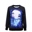 Corpse Bride Pattern Round Neck Long Sleeve Sweatshirt