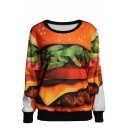 Hamburger Print Round Neck Long Sleeve Sweatshirt
