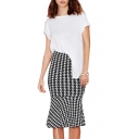 Midi Houndstooth Pattern Pencil Skirt with Ruffle Hem