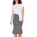 Midi Houndstooth Pattern Pencil Skirt with Ruffle Hem