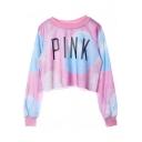Letter Pink Print Round Neck Long Sleeve Crop Sweatshirt