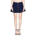 Plain Button Fly Denim Mini Full Skirt
