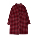 Plaid Point Collar 3/4 Sleeve Shirt in Loose Fit