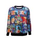 Cartoon Fairy Tale Print Round Neck Long Sleeve Sweatshirt
