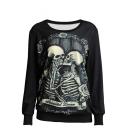 Double Skull Print Round Neck Long Sleeve Sweatshirt