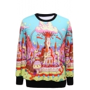Cartoon Castle Print Round Neck Long Sleeve Sweatshirt