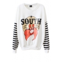 Cartoon Pattern Print Round Neck Sweatshirt with Striped Sleeve
