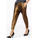 Glitter Metallic Harem Pants with Elastic Waist