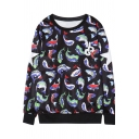 Letter and Fish Print Round Neck Long Sleeve Sweatshirt