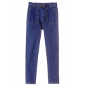 Plain Pocket Zipper Fly Pencil Mid Rise Jeans