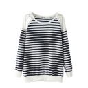 Stripe Print Lace Insert Round Neck Sweatshirt