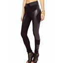 PU Panel Black Legging with Elastic Waist