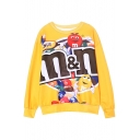 Yellow Chocolate Print Long Sleeve Round Neck Loose Sweatshirt