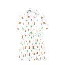 Sweet  Pineapple Print Shirt Sleeve Shirt Dress