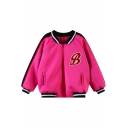 Contrast Stripe and Alphabet Print Baseball Jacket with Zipper Fly
