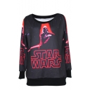 Starry Sky Letter Print Round Neck Long Sleeve Sweatshirt