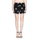 Stars Print Elastic Waist Pockets Chiffon Shorts